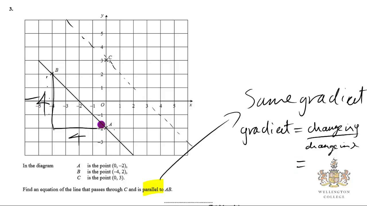 How to GCSE IGCSE straight line and gradient 3 math maths