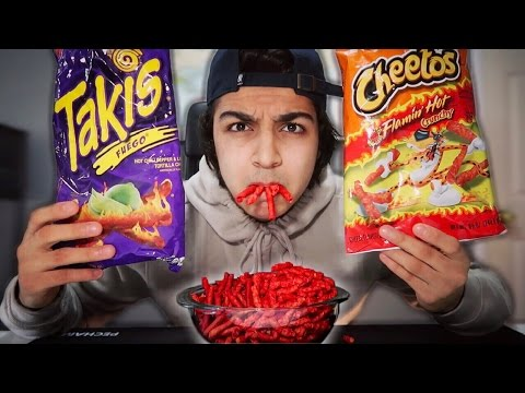 EXTREME HOT CHEETOS AND TAKIS FUEGO CHALLENGE | SMOKING TAKIS CHALLENGE