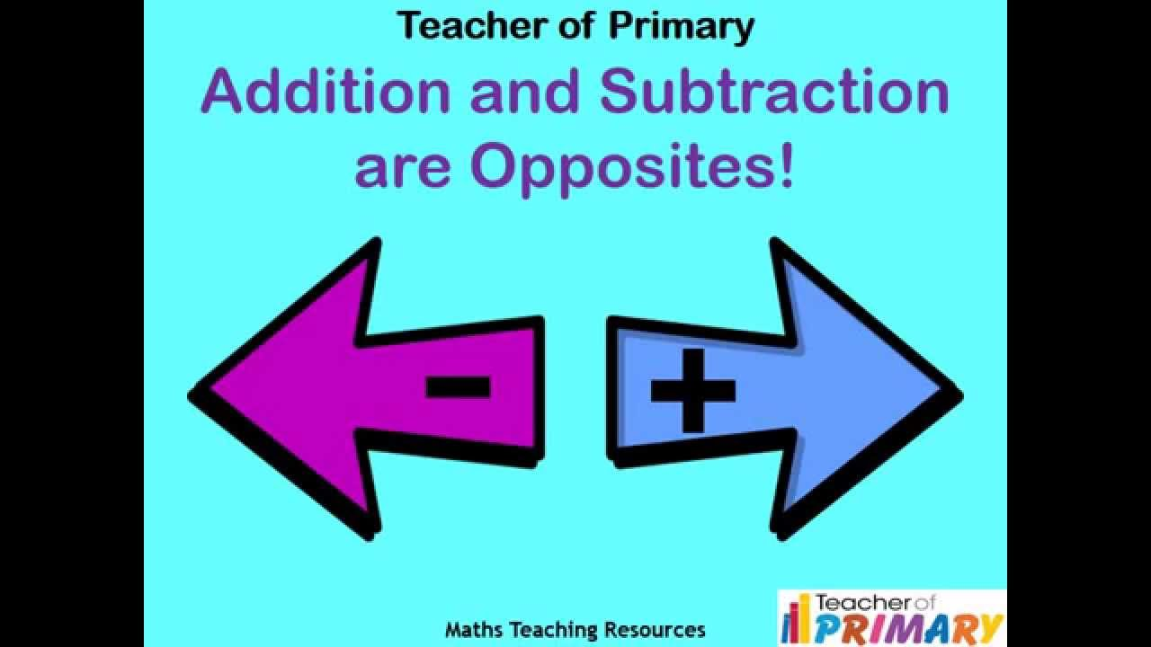 Addition And Subtraction Are Opposites Teaching Resource Youtube