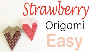 Easy☺︎ Strawberry Origami Paper Tutorial - Origami Kawaii〔#102〕