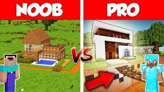 Minecraft NOOB vs PRO: SAFEST MODERN HOUSE BUILD CHALLENGE in Minecraft / Animation