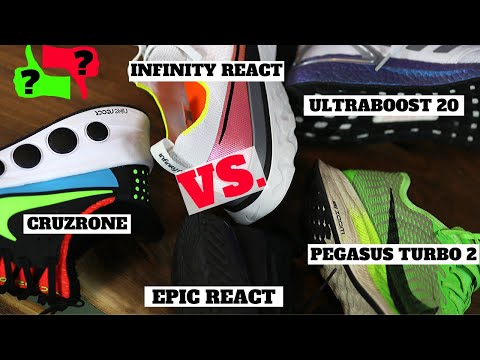 Literatura Amargura Inmersión  Nike React Infinity vs Ultra Boost 20, Epic React, Pegasus Turbo 2, &  CruzrOne Comparison! - YouTube