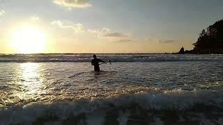 만리포 서핑, 노을 서…