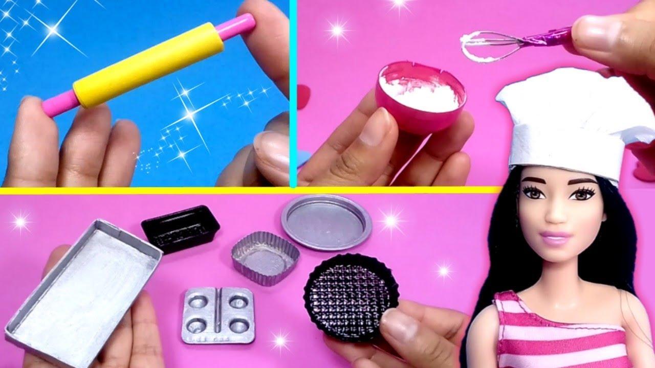 Como hacer Cosas de Cocina para Muñecas Barbie fácil | DIY Miniature Kitchen Stuff