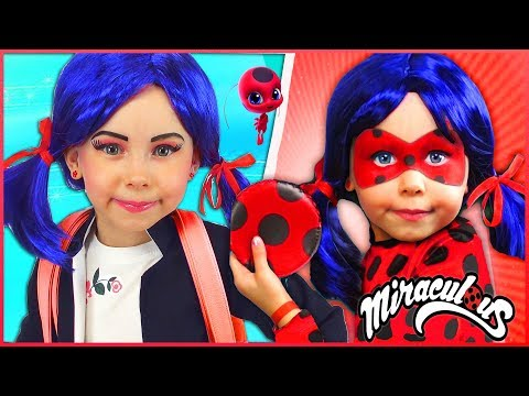 Kids Makeup Marinette & Ladybug Costumes Super Hero Pretend Playing in the park with Toys For Kids