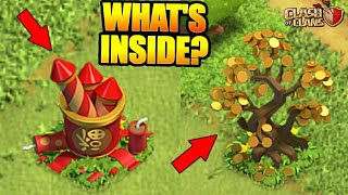 WHAT'S INSIDE THE FORTUNE TREE AND THE FIREWORKS STASH? NEW LUNAR YEAR UPDATE! - CLASH OF CLANS(COC)