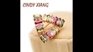 Женская мужская брошь геометрической формы cindy xiang маленькая с разноцветным фианитом