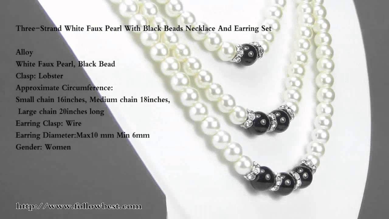ThreeStrand White Faux Pearl With Black Beads Necklace And Earring ...