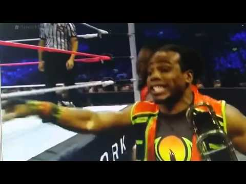 Xavier Woods plays Dolph Ziggler's theme song