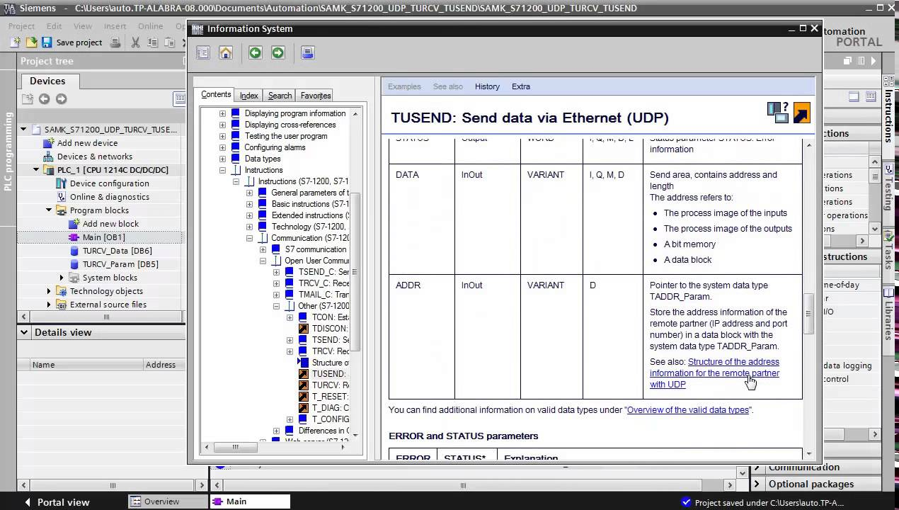 TIA Portal S71200 sending data from PLC to PC by TUSEND-command