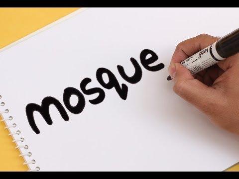 How to Turn Words MOSQUE (Masjid) Into Cartoon ! Amazing Wordtoon Drawing Art