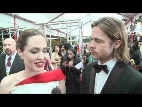 Angelina Jolie and Brad Pitt - HFPA Red Carpet Interview- Golden Globes 2012