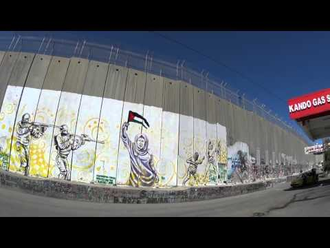The wall between Israel and Bethlehem- a Palestinian illustration full of hate and lies.