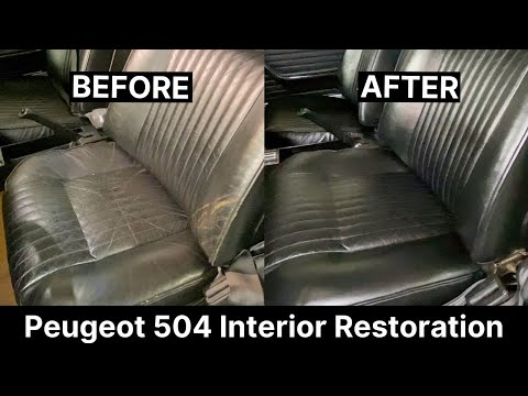 How to repair a scuffed leather car seat   Peugeot 504   Leather Cleaning & Restoration   COLOURLOCK