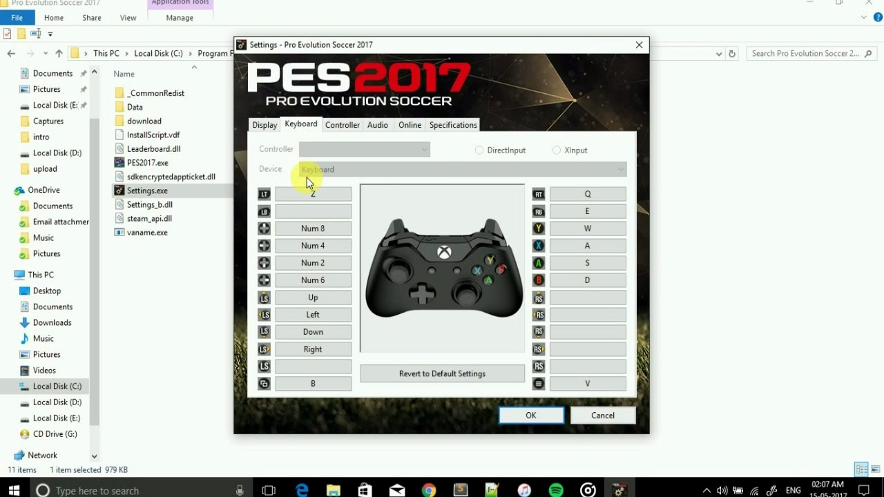 PES 17 || How To Change Keyboard Setting || Update by Steam