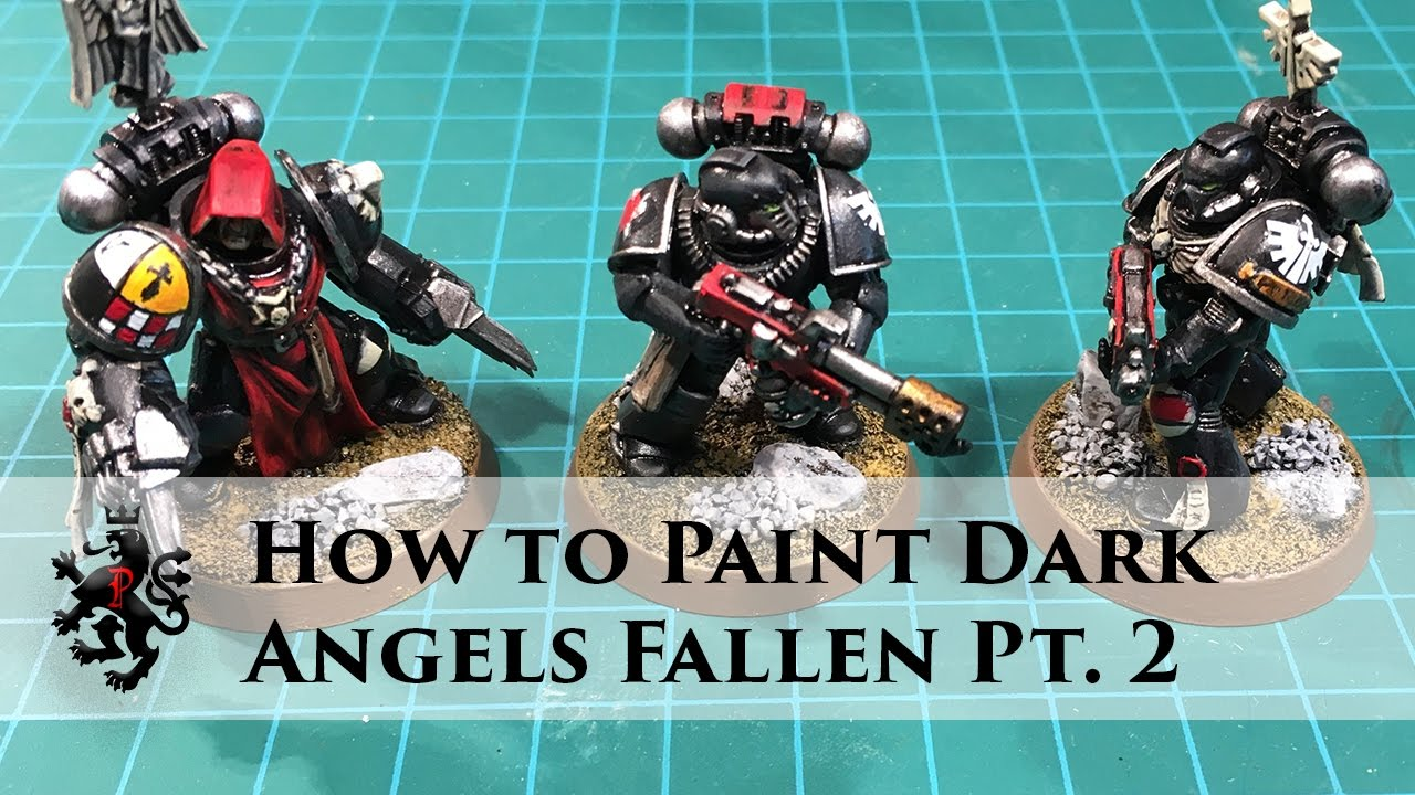 How to Paint Dark Angels Fallen Pt  2 - Heraldry, Scorch Marks and Water  Transfers