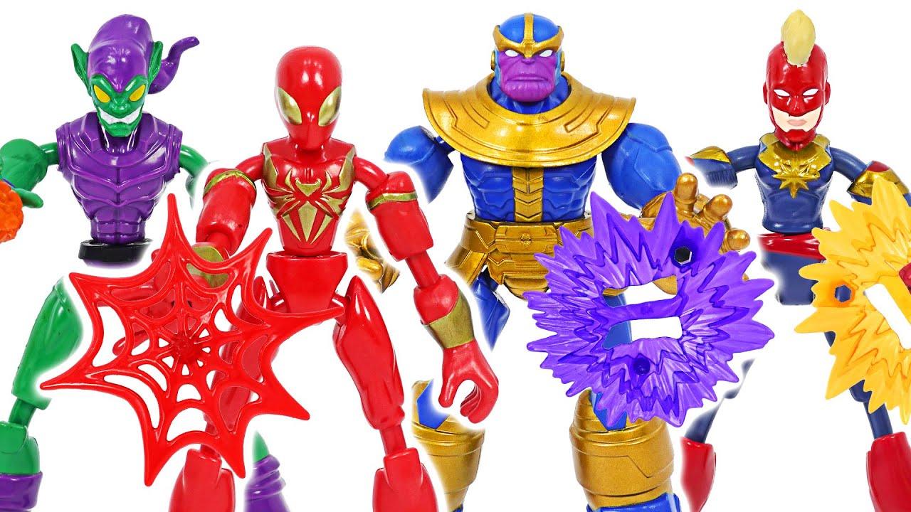 마블 어벤져스 벤드 앤 플렉스 타노스, 고블린 VS 스파이더맨, 캡틴마블! | 두두팝토이