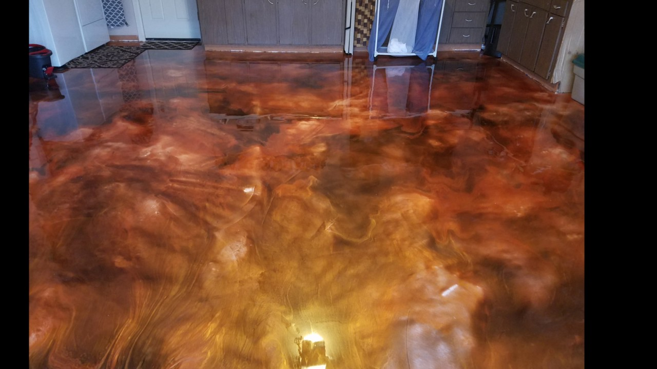 Garage Floor Transformation Metallic Epoxy Installation