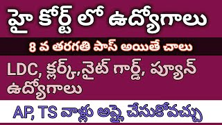 హై కోర్ట్ లో ఉద్యోగాలు II AP, TS can apply II GOVERNMENT JOBS 2018 II GOVERNMENT JOBS IN TELUGU II