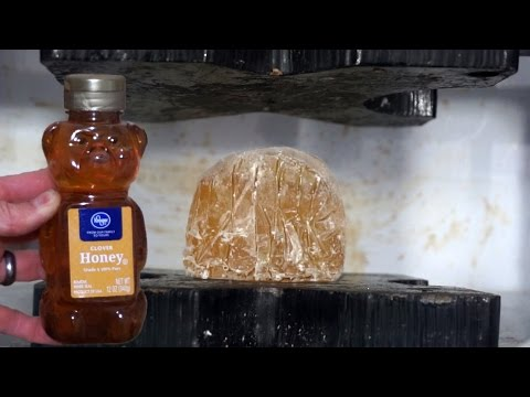 Crushing Cryogenic Frozen Honey With Hydraulic Press!