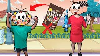 Mônica Cebolinha nunca abra pacote de m&m's chips errado TURMA DA MÔNICA LAÇOS Lucas Rocha Kids