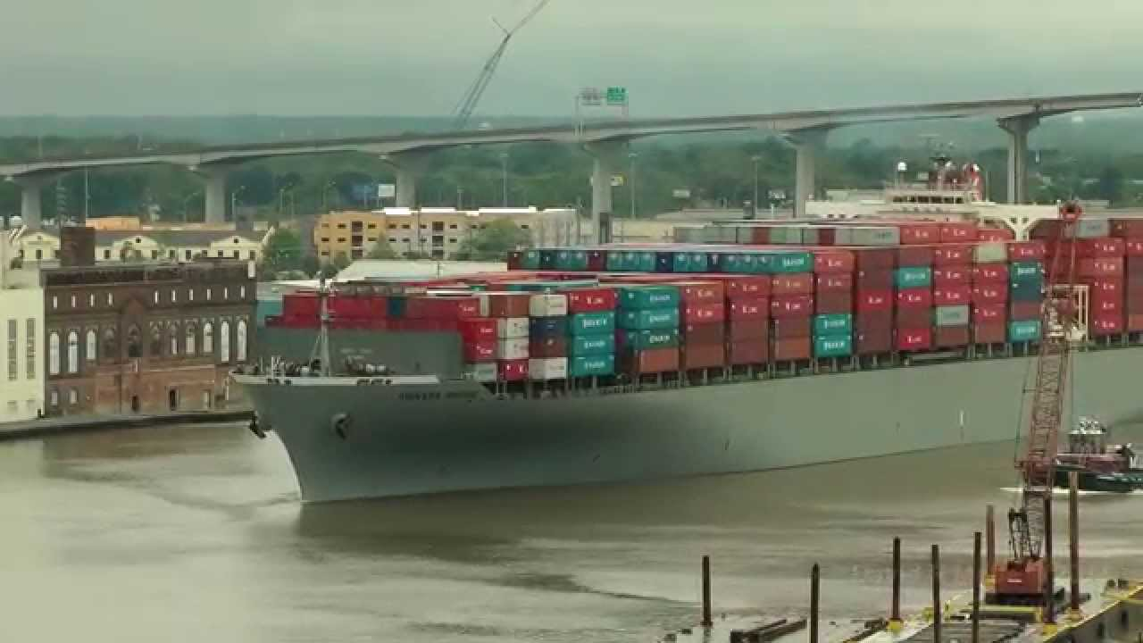 AKINADA BRIDGE Container Ship Leaving Savannah GA 4/19/14