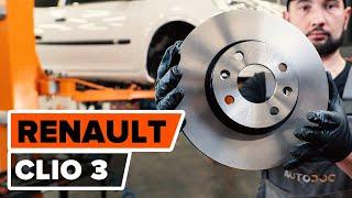 Cómo cambiar Frenos de disco RENAULT CLIO III (BR0/1, CR0/1) - vídeo gratis en línea