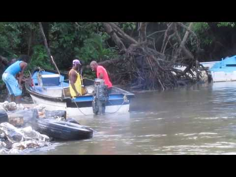 Fishing on a small boat in the Trinidad, Caribbean