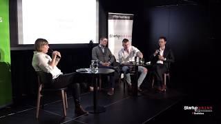 M. Majernik (CEAI), M. Herman (Powerful Medical), J. Bardy (Alistiq) at Startup Grind Bratislava