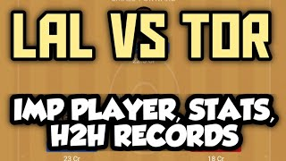 LAKERS vs RAPTORS DREAM11 NBA TEAM / IMP PLAYER  H2H STATS AND RECORDS 🔥 🔥