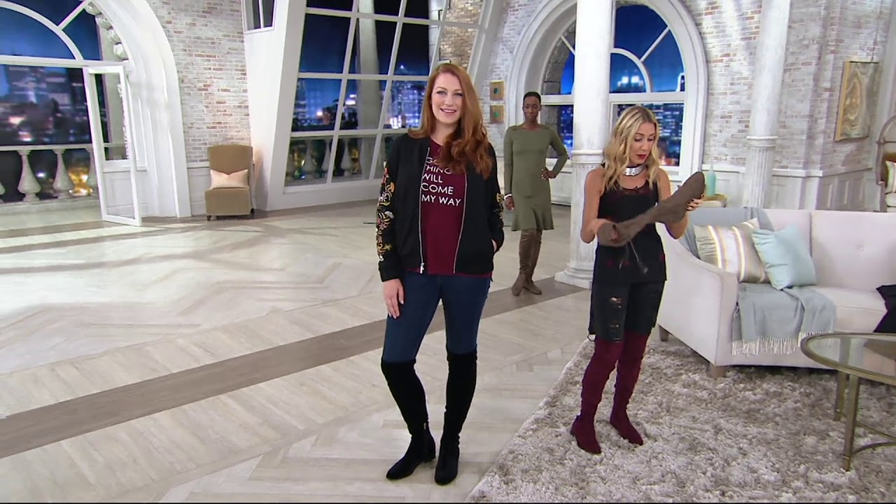 0a6ebbc7e177 Marc Fisher Faux Suede or Velvet Over-the-Knee Boots - Hulie on QVC ...