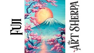 Mt Fuji How to paint with Acrylic on Canvas Cherry Blossom