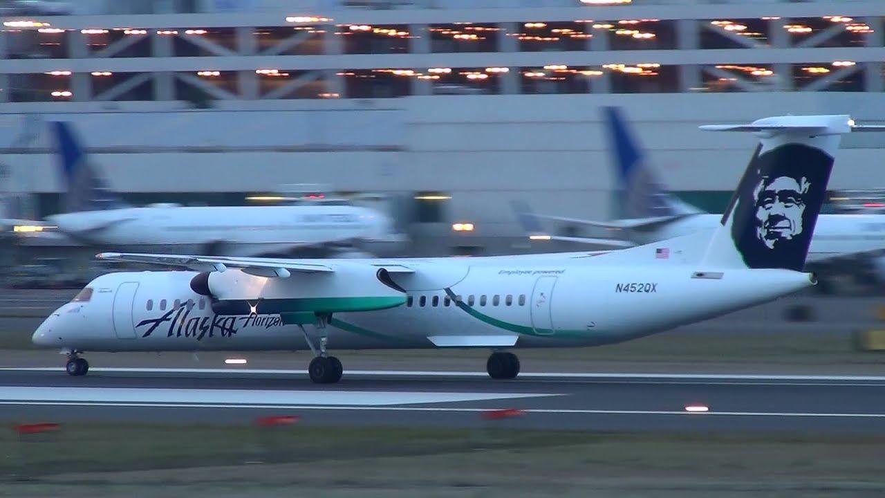 Alaska Airlines Employee Powered N452qx Q400 Takeoff