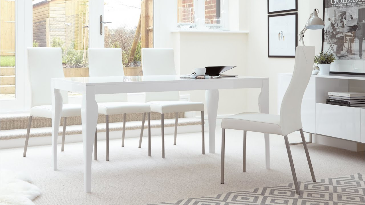 White Dining Room Table And 6 Chairs Dwell Posture Chair Gloss Seater Real Leather