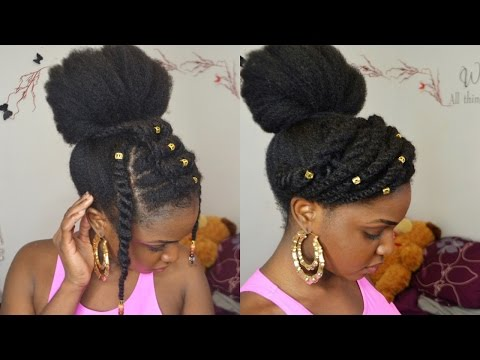 BUN & TWISTS ON 4C NATURAL HAIR PROTECTIVE STYLE