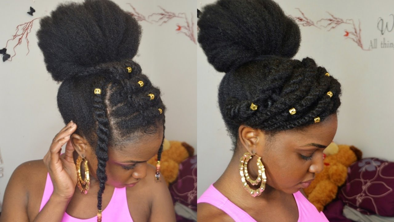Bun Amp Twists On 4c Natural Hair Protective Style Youtube