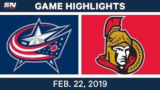 NHL Highlights | Senators vs. Blue Jackets - Feb 22, 2019