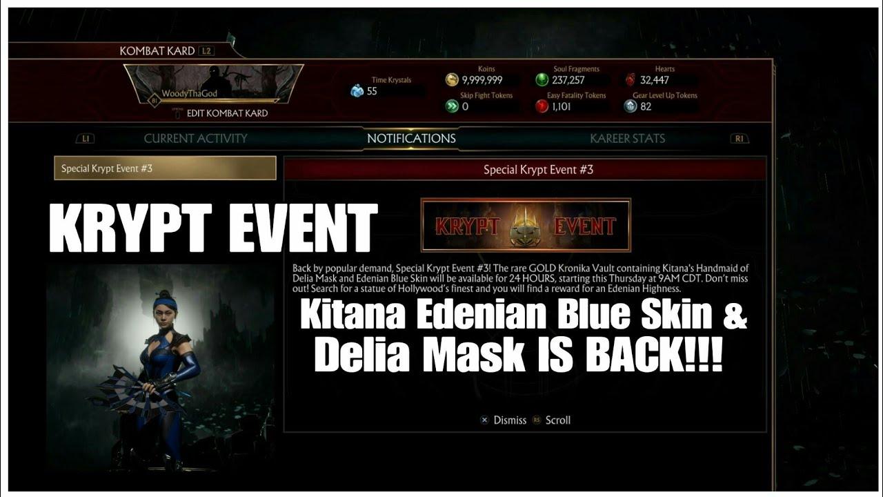 Mk11 Special Krypt Event 3 Rare Edenian Blue Kitana Skin Delia