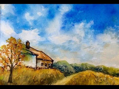 Watercolor Tutorial, part 2,  how to paint a country house with tree