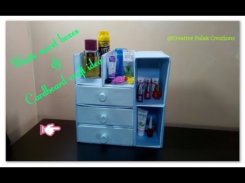 DIY Desk Organizer using cardboard and West sweets boxes,cardboard shelf,drawer cabinet.