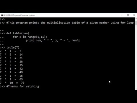 How to generate a multiplication table using for loop in for Table in python