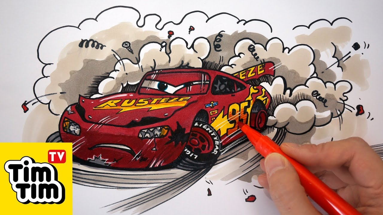 How To Color Cars 3 Lightning Mcqueen Crashed Badly
