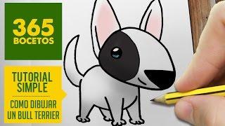 COMO DIBUJAR UN BULL TERRIER KAWAII PASO A PASO - Dibujos kawaii faciles - draw a Bull Terrier