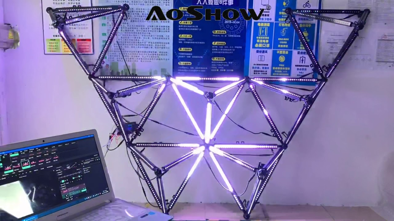 Aoshowled VJ Art Visual Show Cube WS2812B RGB LED Pixel Bar control by Resolume and Artnet control