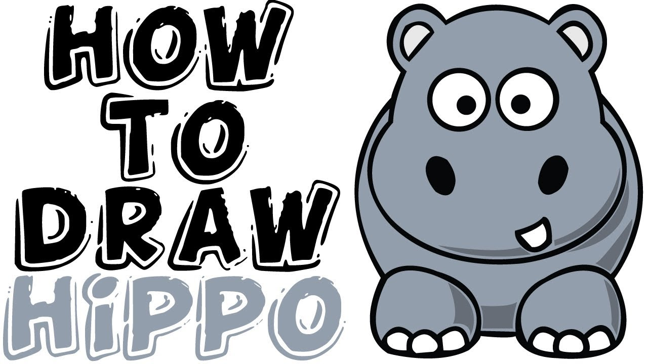 Uncategorized Hippo Drawings how to draw hippo kids drawing for learning youtube learning