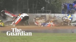 Eleven cars skid into mass pile-up in Citroën DS3 Cup race