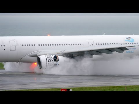 EXTREMELY WET Aircraft Movements feat.  A350-1000, 777, A340s | Auckland Airport Plane Spotting [4K]