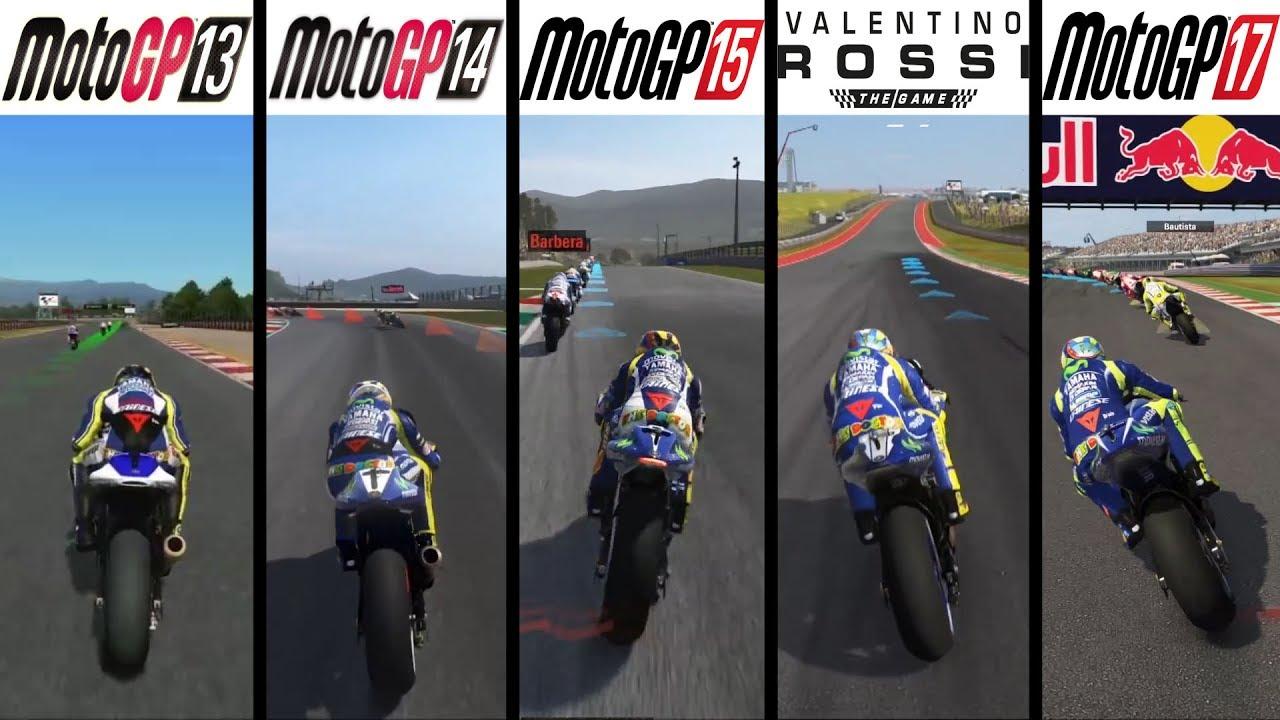 MotoGP 13 vs MotoGP 14 vs MotoGP 15 vs Valentino Rossi: The Game vs MotoGP 17 - Gameplay Comparasion