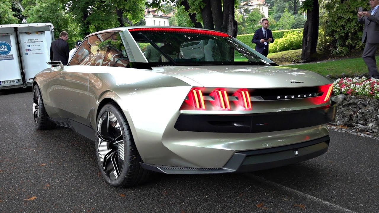 Peugeot E-Legend Concept Driving on the Road & Overview @ Villa d'Este 2019