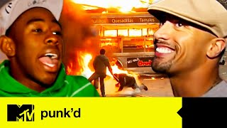 Biggest Explosions On Punk'd ft. Dwayne 'The Rock' Johnson & Tyler, The Creator | Punk'd